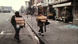 Damaged shops in the streets during riots in Washington D.C., United States. HD Stock Footage