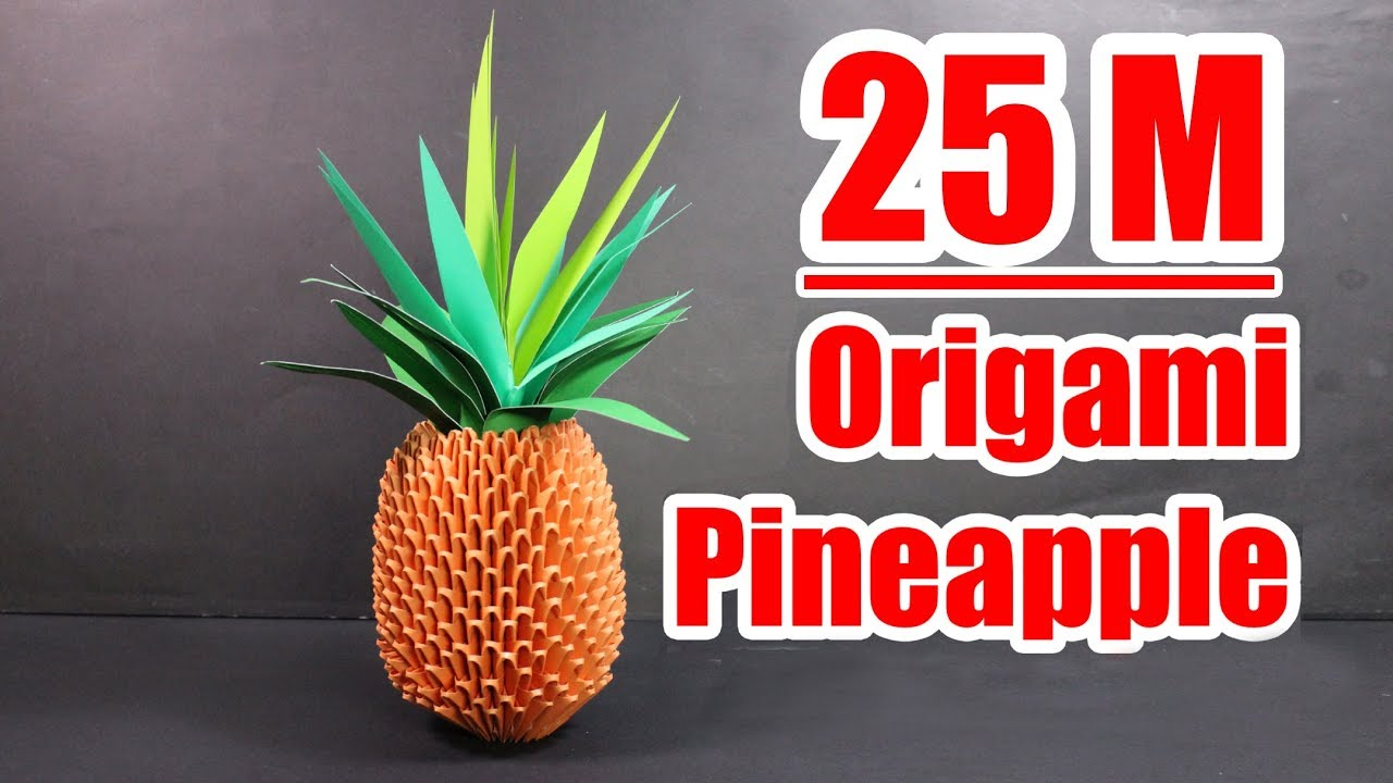 3d Origami Pineapple Tutorial Crazymch Youtube