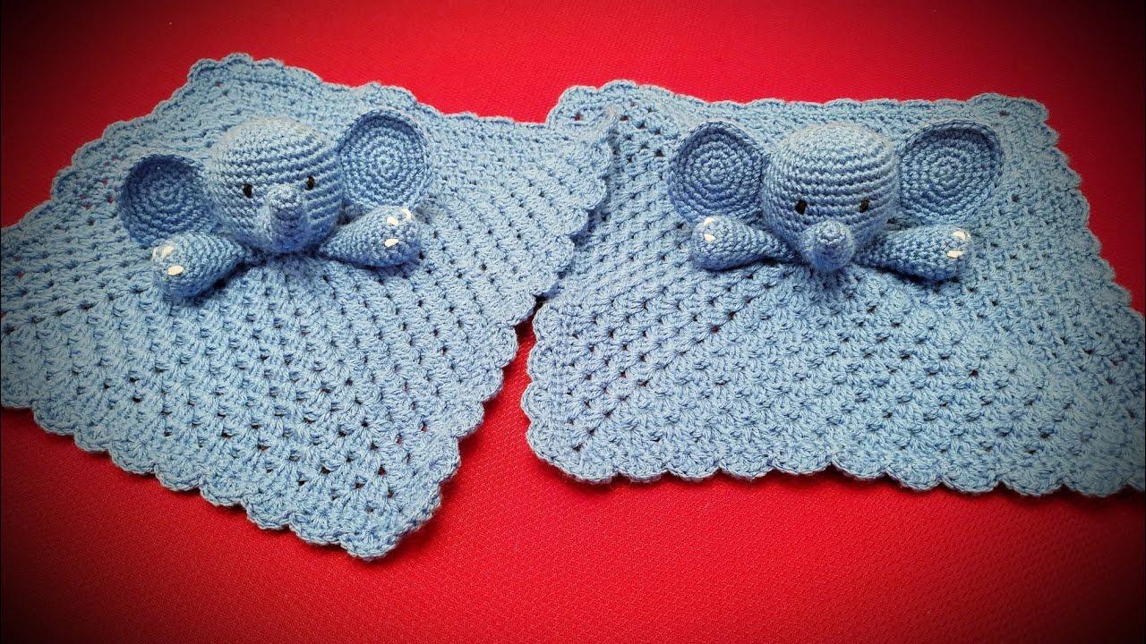 Amazon.com: Crochet elephant baby lovey blanket security blanket ... | 720x1280