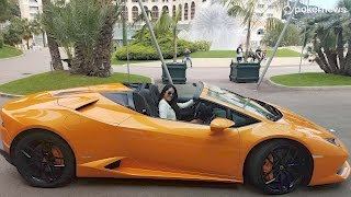 Royal Flush Girl Jeannie in a Lamborghini