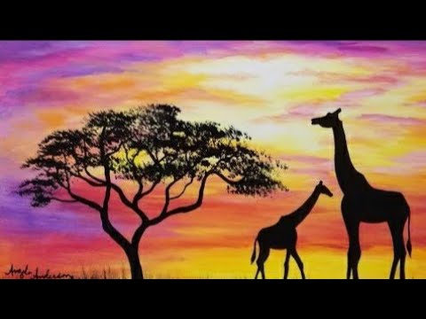 EASY SUNSET Giraffe Silhouette Acrylic Painting Tutorial for Beginners Live
