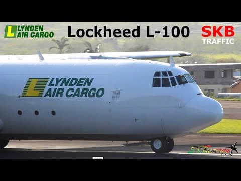 Epic !!! Lynden Air Cargo Lockheed L-100 engine start, taxi and departure from St. Kitts to Miami