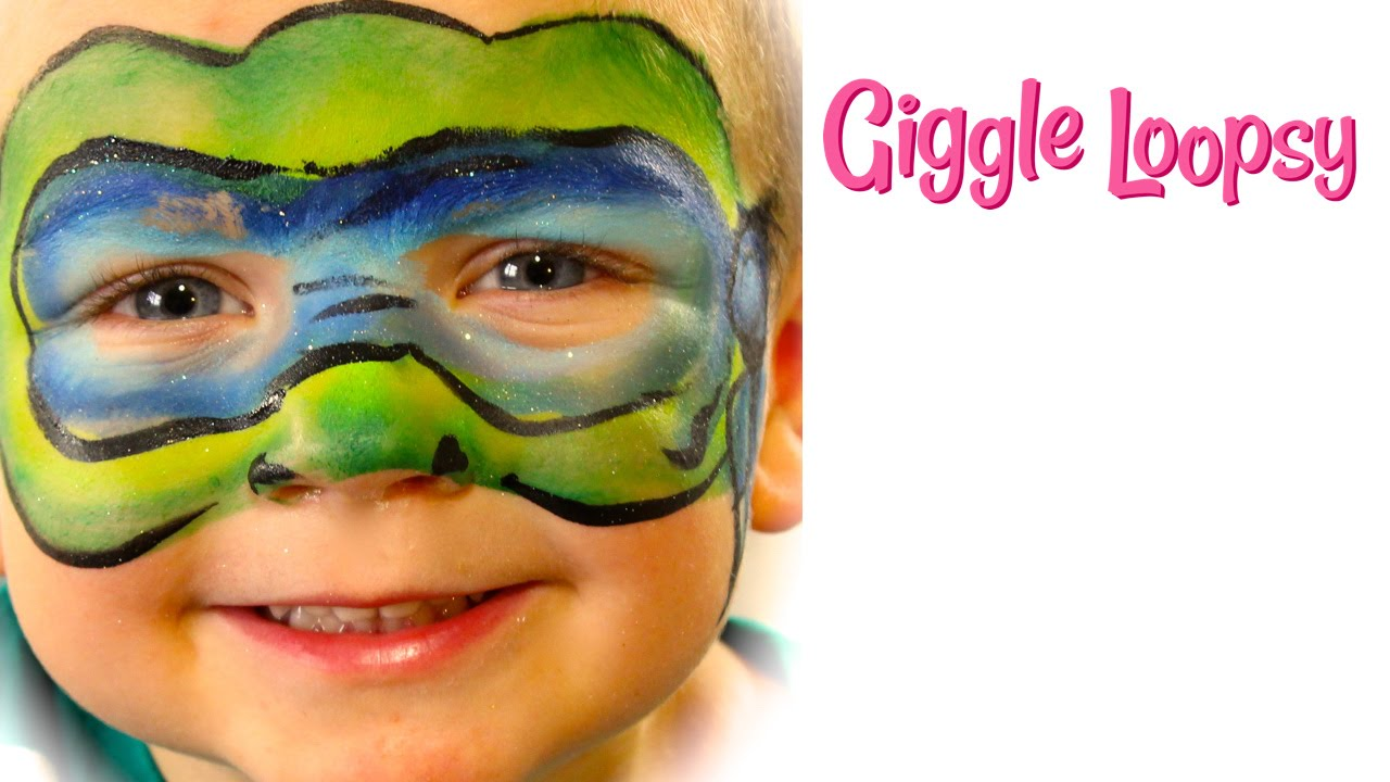 One Stroke Ninja Turtle Face Paint Tutorial By Giggle Loopsy Youtube