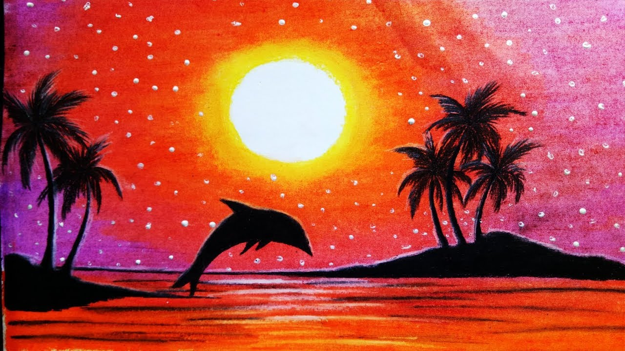 How To Draw Scenery Of Sunset With Oil Pastelstep By Stepeasy Draw