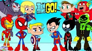Teen Titans Go! Color Swap into Avengers Spiderman and Batman Surprise Egg and Toy Collector SETC