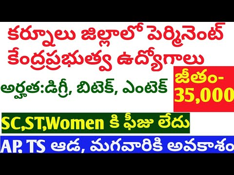 Local govt jobs in Andhra 2019-20 | ఆంధ్ర కర్నూలు జిల్లాలో గవర్నమెంట్ ఉద్యోగాలు|Today govt jobs 2019