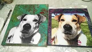 Fluid-Art: Gift time - doggy photo transfer on Acrylic pour. Glue desaster! What next?
