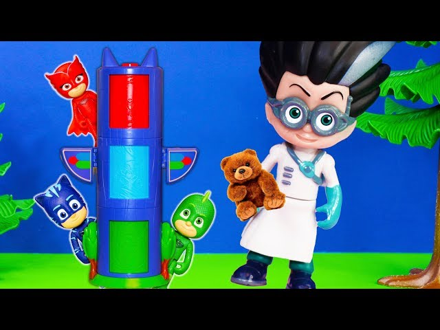 PJ MASKS TRANSFORMING TOWER Romeo loses bedtime teddy AMAYA + CONNOR + GREG