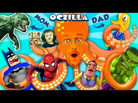 Thumbnail: GODZILLA MOMMY + OCTOPUS DADDY = OCTZILLA!! FGTEEV & Friends: Batman, Hello Neighbor, Spiderman Hulk