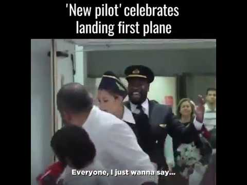 """New Pilot "" celebrates landing first plane 