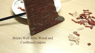 Make Bricks Wall with Wood and Cardboard Papers - Materials Minder