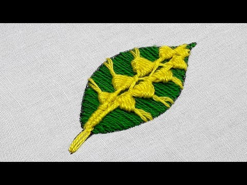 Hand embroidery leaf stitch design tutorial with satin stitch, fly stitch and spider stitch thumbnail