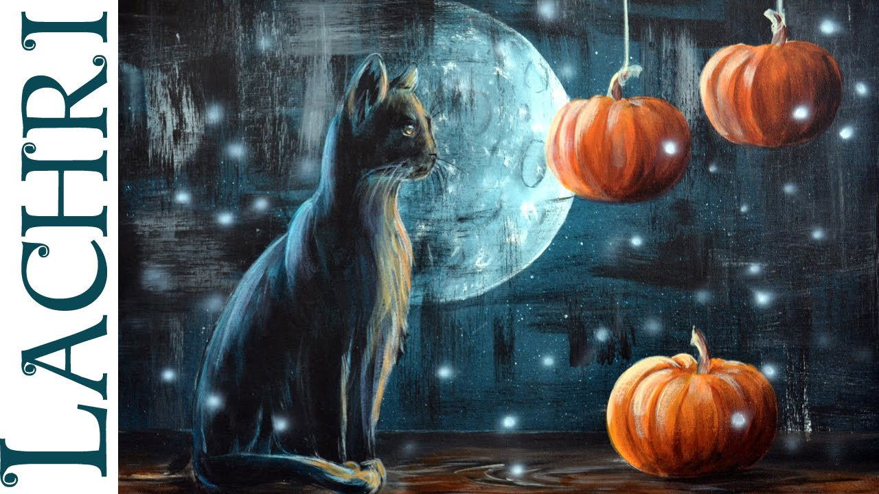 Black cat and pumpkin Halloween acrylic painting tips and