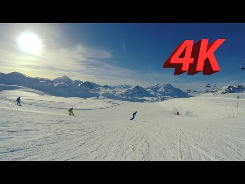 4K Tignes & Val d'Isere Snowboarding And Skiing 2017 French Alps