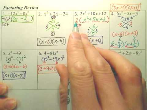 & Algebra 1 - Chapter 10 Factoring Review page 2 - YouTube