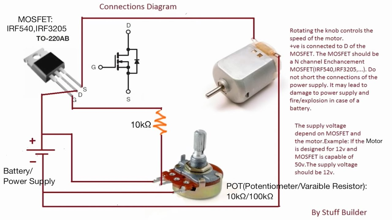 update 3)how to build the simplest dc motor speed controller (using Potentiometer Wiring Connection Diagram (update 3)how to build the simplest dc motor speed controller (using mosfet and potentiometer)
