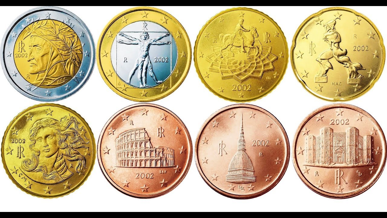 1 2 euro 5 10 20 50 cent italy 2002 video coins european. Black Bedroom Furniture Sets. Home Design Ideas