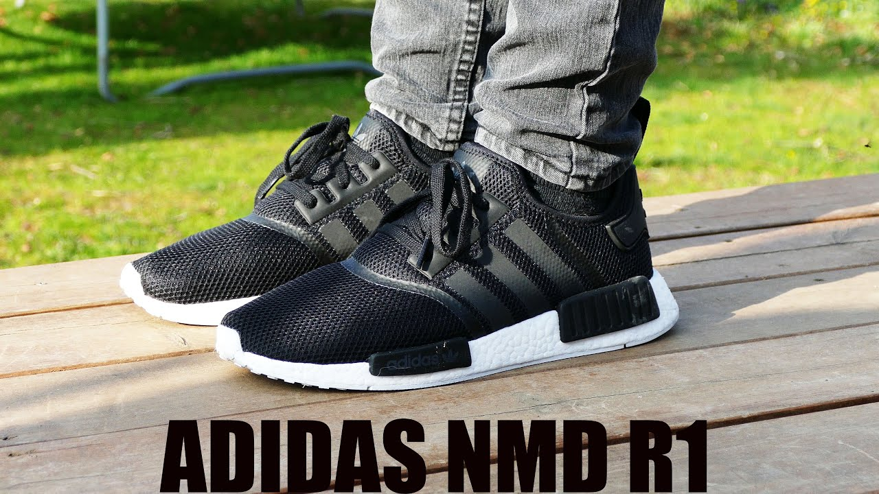 check out ca09c 8b01c Adidas NMD R1 (Black  Core Black  White) - On Feet