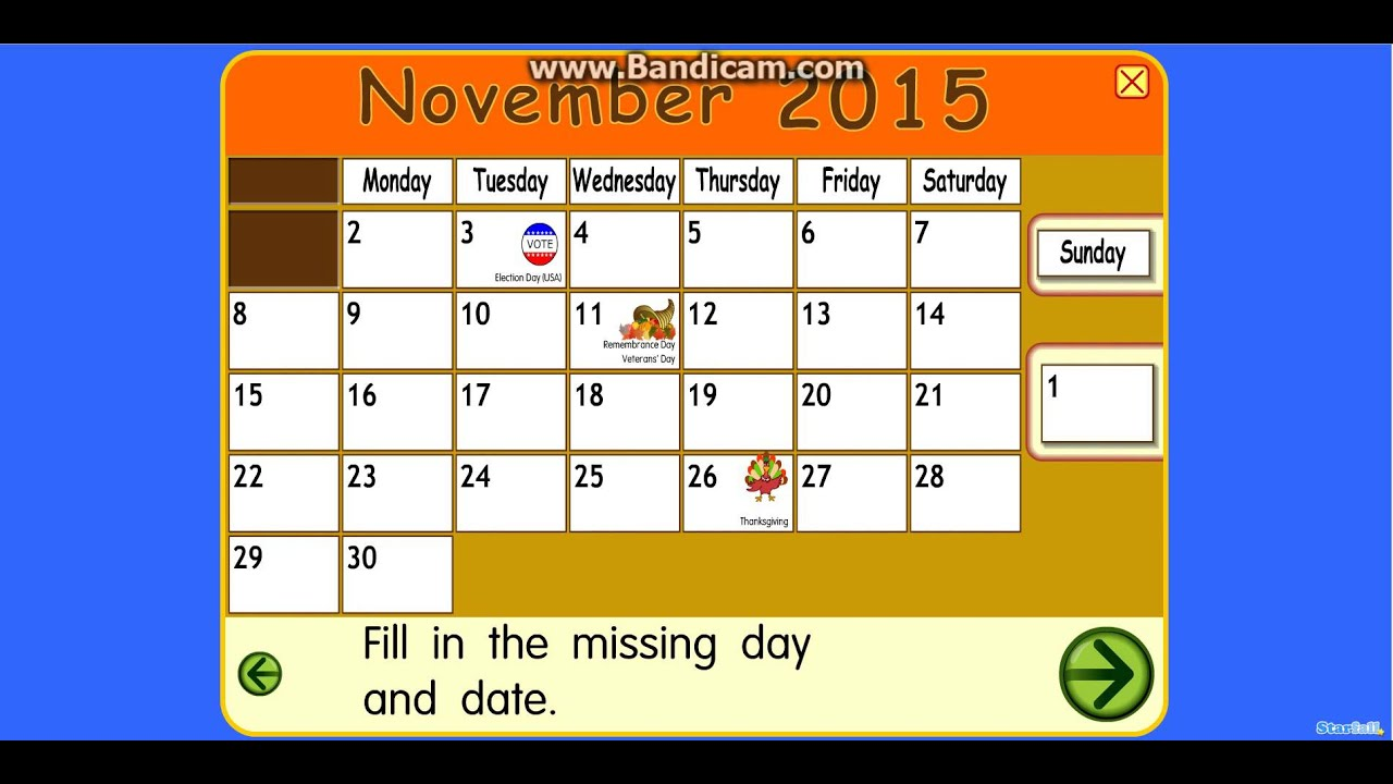 Starfall Calendar November - Bing images