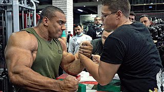 SCHOOLBOY VS WORLD STRONGEST BODYBUILDER LARRY WHEELS | ARM WRESTLING 2020