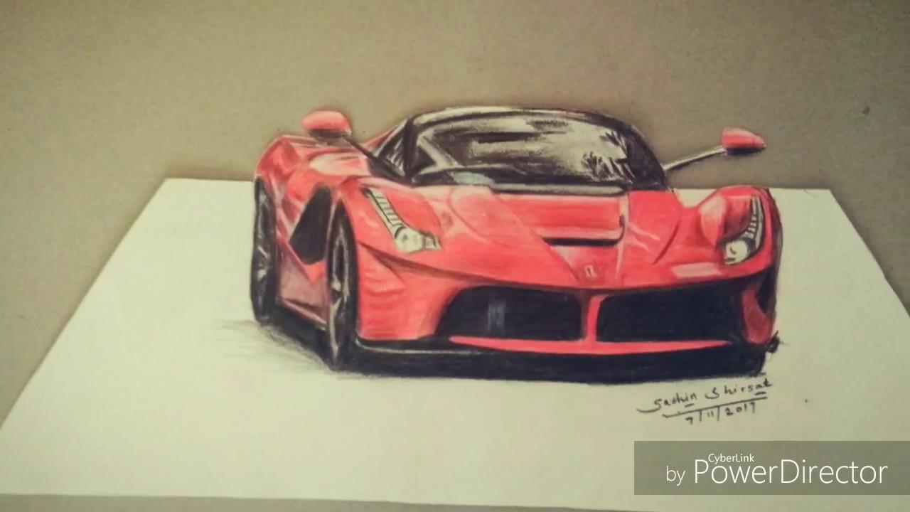 3d Drawing Ferrari With Colour Pencils Cars Sachin Shirsat