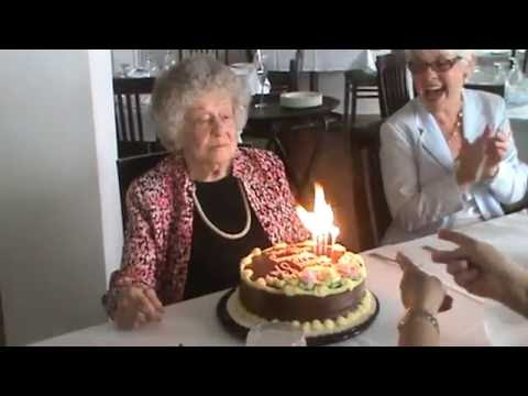 Great Grandma blows out birthday candles or tries to YouTube