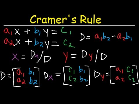 Download Cramer's Rule - 2x2 & 3x3 Matrices - Solving Systems of Linear Equations - 2 & 3 Variables