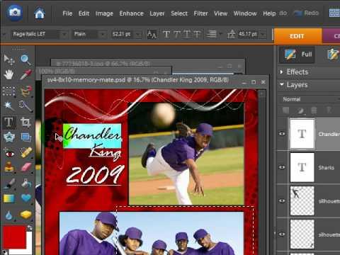 Baseball Cutouts sports template Elements Tutorial - YouTube