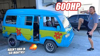homepage tile video photo for What Happened To the Mystery Machine??? Our 600hp Turbo Rotary Burnout Van Returns!!!