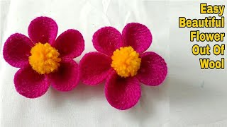 DIY Easy Beautiful Flower Out Of Wool / Unique Wool Flower Making Idea