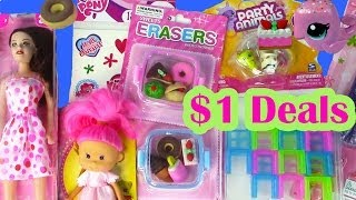 $1 Dollar Tree Toy Haul Barbie Doll Kawaii Food Erasers Party Animals My Little Pony Shopping