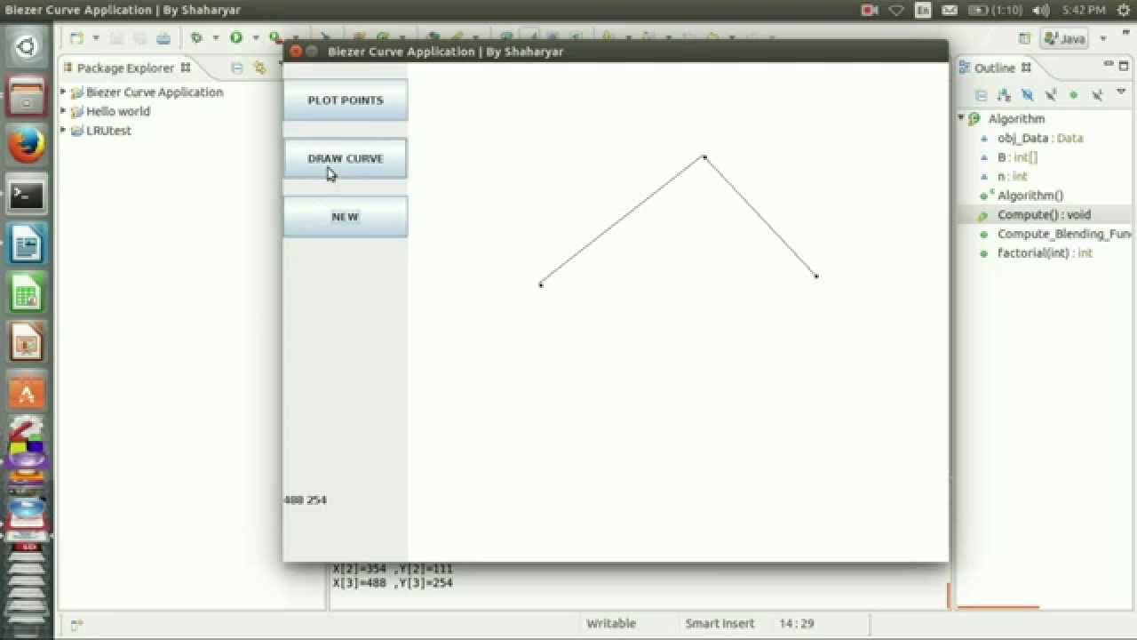 bezier curve application in java | Opengl