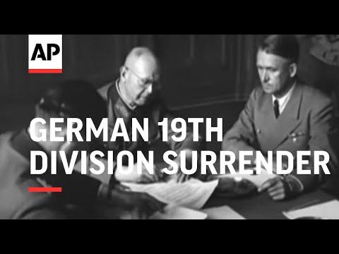 GERMAN 19TH DIVISION SURRENDER - LUNEBURG - GERMAN SURRENDER - GERMAN DELEGATES IN SCOTLAND - NO SOU