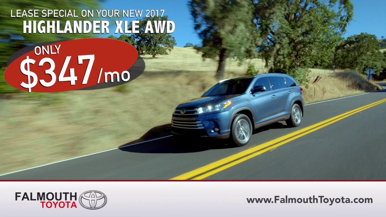 New 2017 Toyota Highlander Xle Awd Lease Special Falmouth Bourne Ma Cape Cod