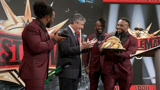 The New Day close the WrestleMania 35 press conference with a tasty pancake treat