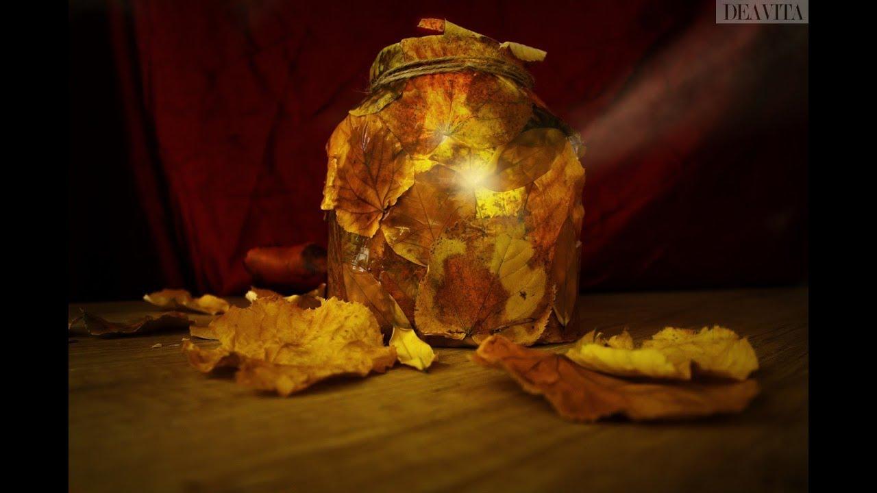 Windlichter Basteln Im Herbst Einmachglaser Mit Herbstblattern