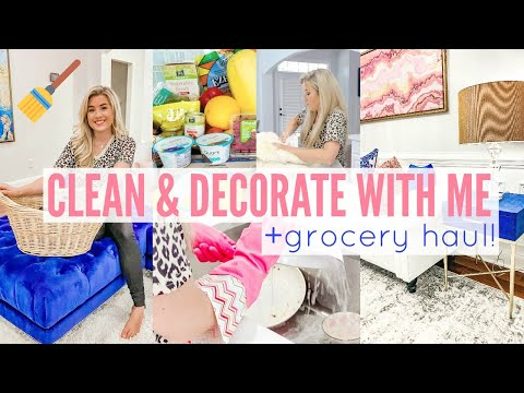 ✨2020 RELAXING DECORATE & CLEAN WITH ME W. GORCERY HAUL   CLEANING MOTIVATION   Love Meg