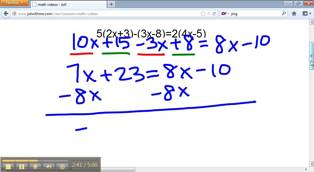 solve the equation 5