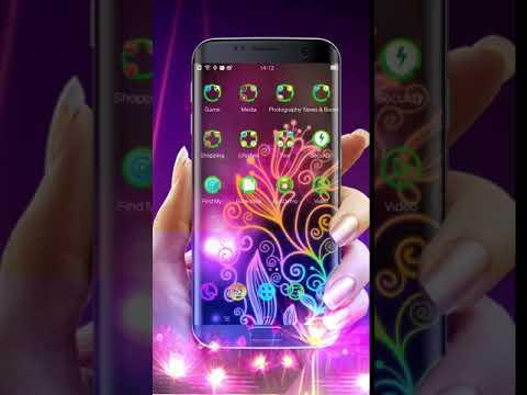 Beautiful Neon Colorful Flowers Theme & HD Wallpaper