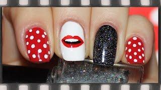 Маникюр Губы. Дизайн ногтей на День Святого Валентина в горошек | Lips Nail Art 2016