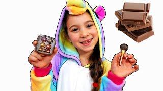 Аня в видео про новые игры в челлендж шоколад как съедобное и настоящее