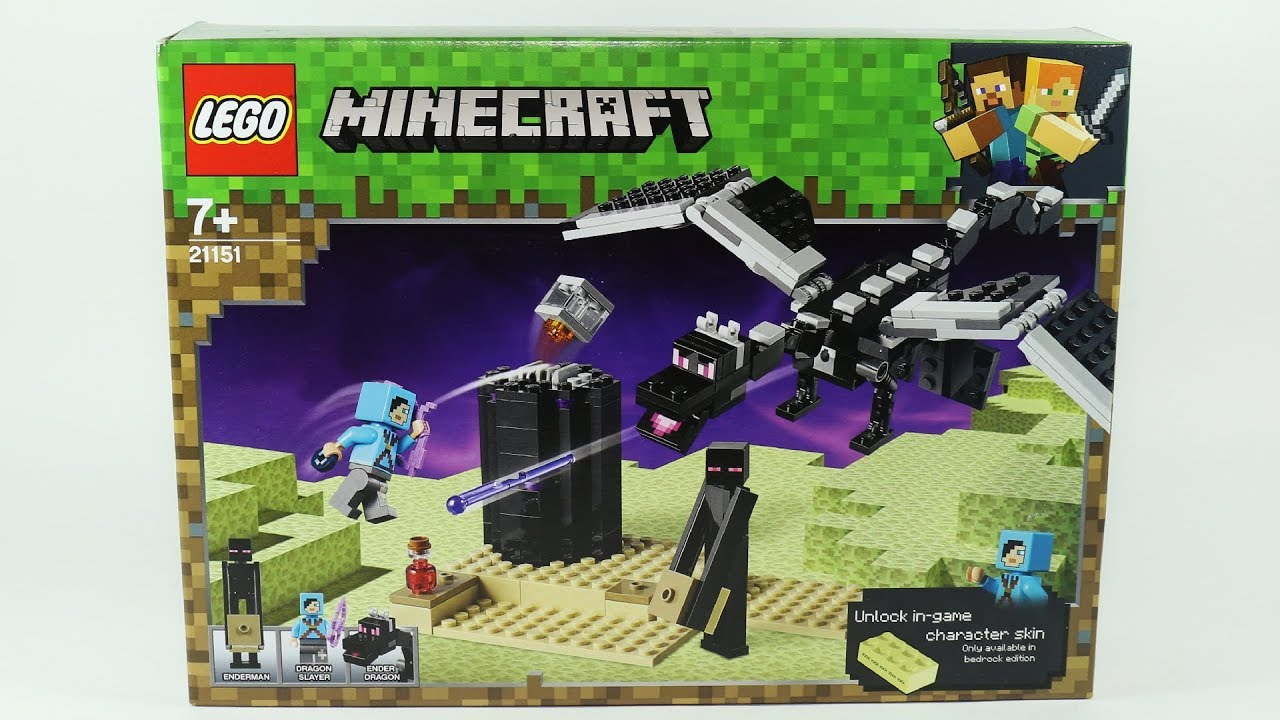 Lego Minecraft The End Battle With Ender Dragon Youtube