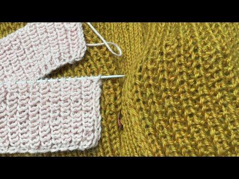 Полупатентная резинка ( Ложная английская резинка).2 Метода. Подготовительное видео. Brioche Stitch.