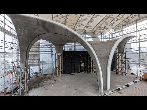 Doubly curved concrete roof complete