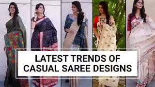 Latest Trends of Casual Saree Designs 2018 - Kalamkari Saree, Linen saree, Printed sarees