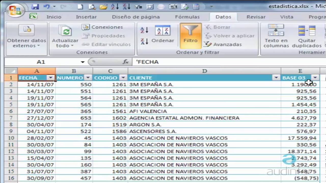 Analizar datos forex excell