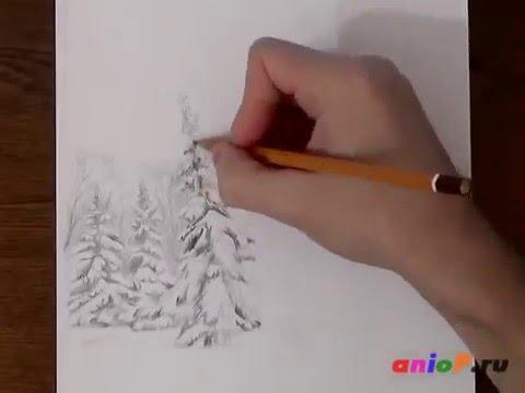 Поэтапное рисование зимнего пейзажа