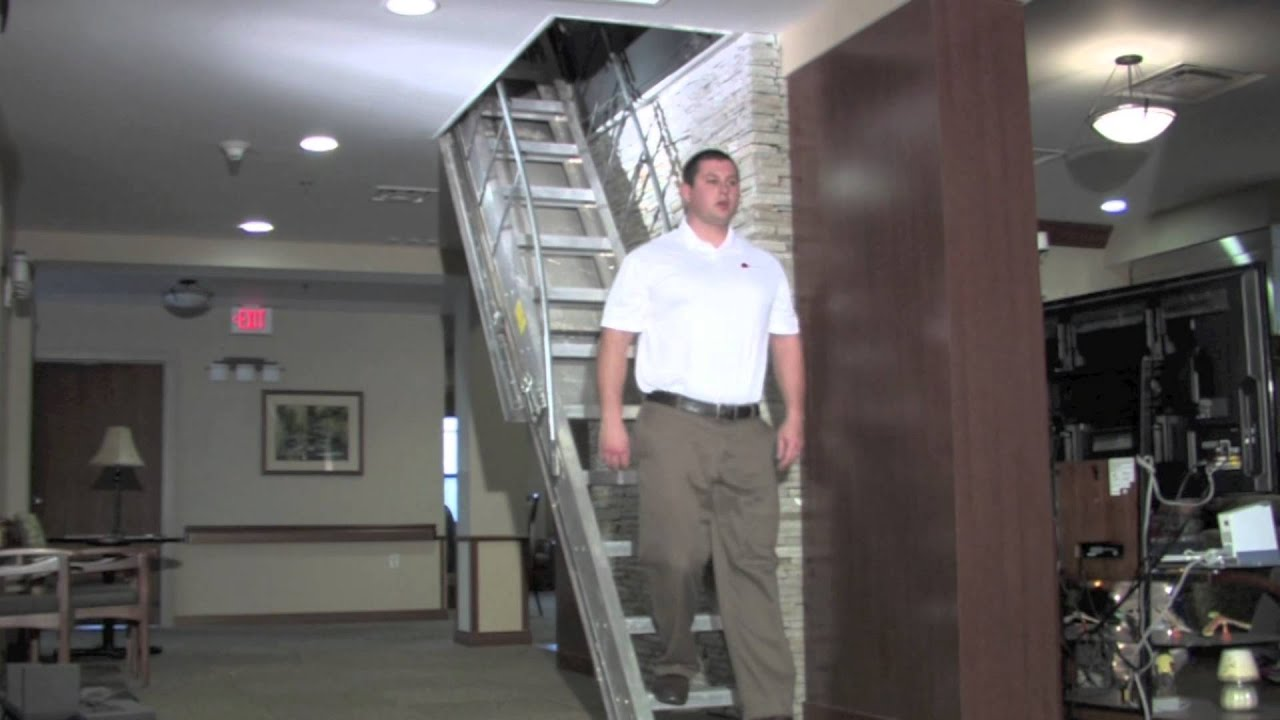 precision ladders automatic electric attic stairs youtube