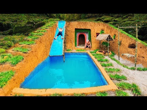 How To Build Swimming Pool Water Slide Around Secret Underground House In The Cliff