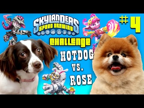 Skylanders Speed Drawing Challenge Part 4: ROSE vs. HOT DOG!  (Animal Battle Playdate)